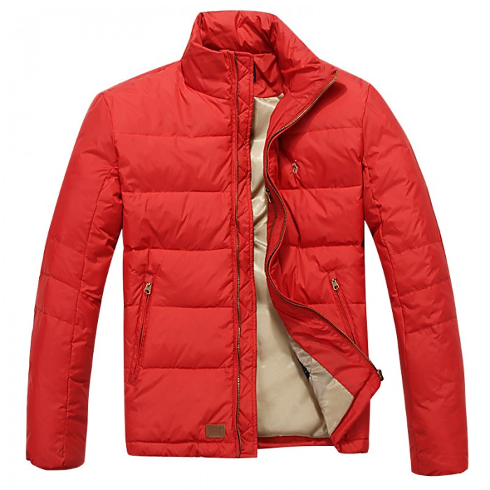Polo Ralph Lauren Down Jacket Men Solid Small Pony Red