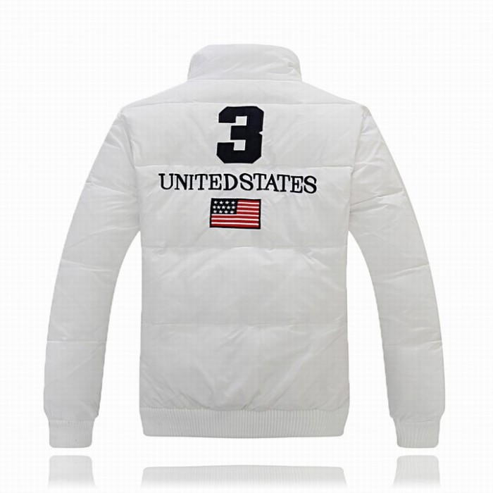 Ralph Lauren Polo Mens Flag Down Jackets Feather Coat 3 White USA