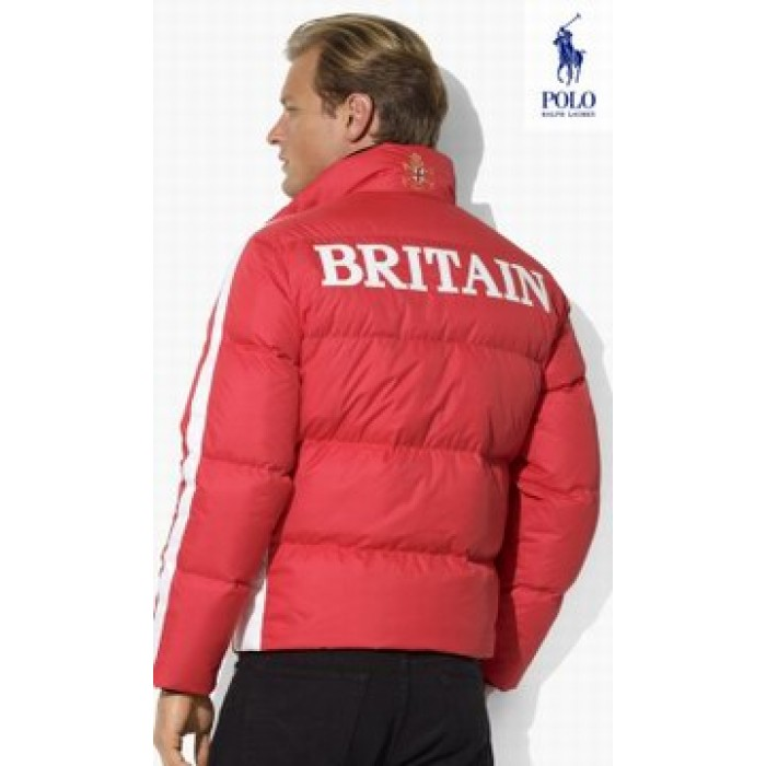 Ralph Lauren Polo Sleeve Striped Down Jackets Red White