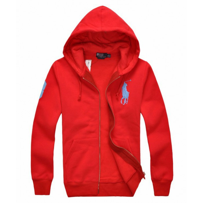 Polo Ralph Lauren Men Hoodies Classic Fleece Big Pony Red
