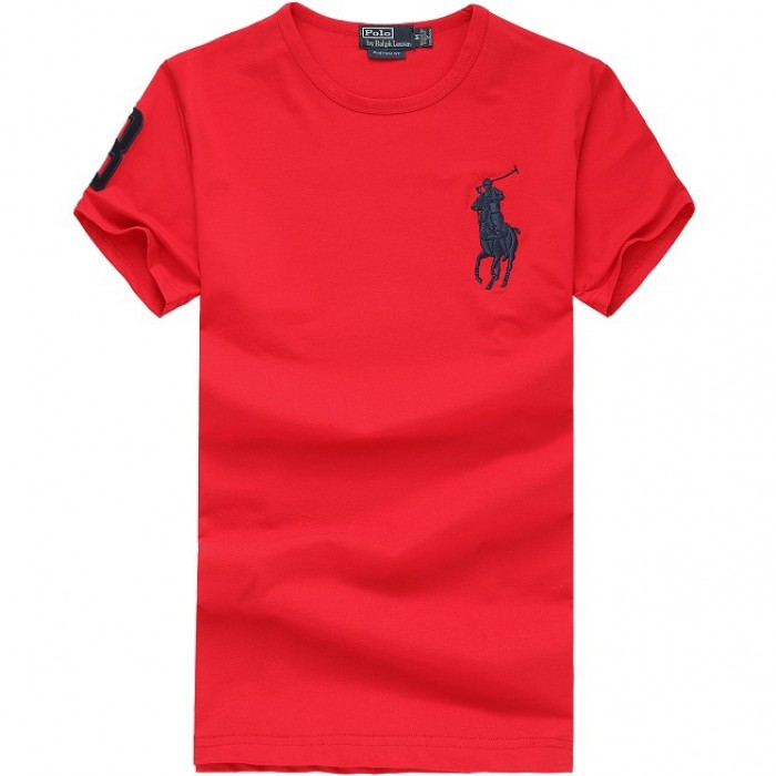 Polo Ralph Lauren Mens Crew Neck T Shirts 3 Words Red