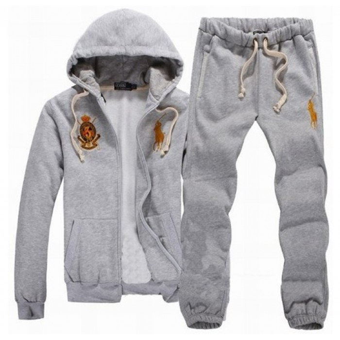 Grey Gold Logo Ralph Lauren Polo Hooded Sweat Suits For Men